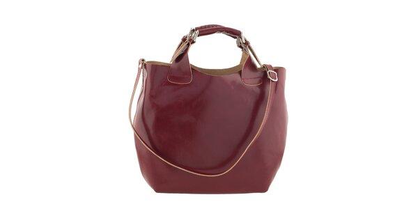 Dámska červená kožená kabelka Ore 10