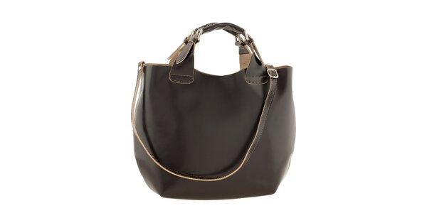 Dámska tmavo hnedá kožená kabelka Ore 10