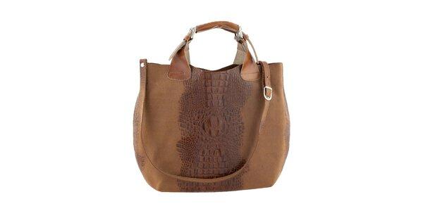 Dámska svetlo hnedá kožená kabelka s krokodílim vzorom Ore 10