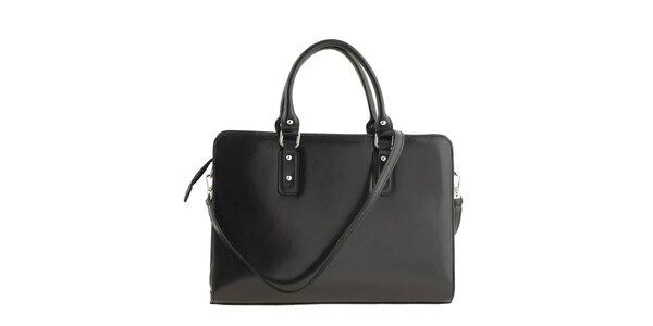 Dámska obdĺžniková kožená kabelka v čiernom prevedení Oro 10