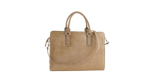 Dámska obdĺžniková kožená kabelka vo svetlo hnedom prevedení Ore 10