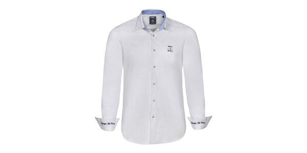 Pánska biela košeľa s modrými výšivkami Giorgio di Mare