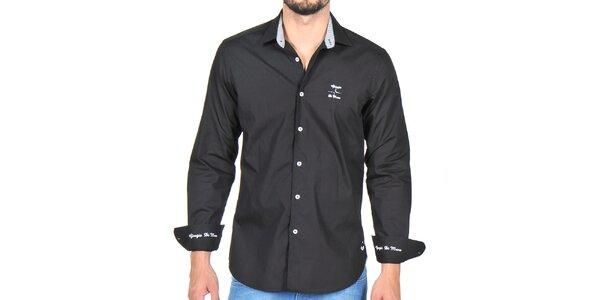 Pánska čierna košeľa s bielymi výšivkami Giorgio di Mare