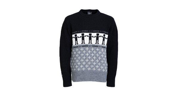 Pánsky šedo-čierny vzorovaný sveter Chico