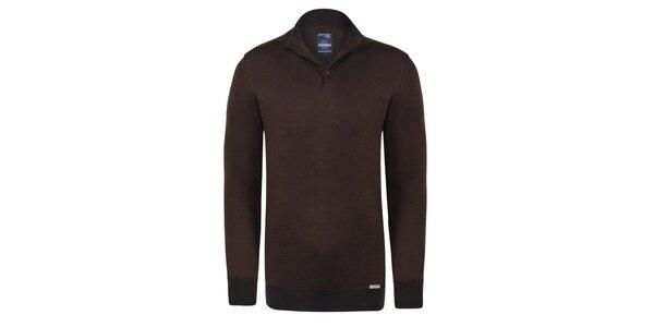 Pánsky hnedý sveter s čiernym pruhom Giorgio Di Mare