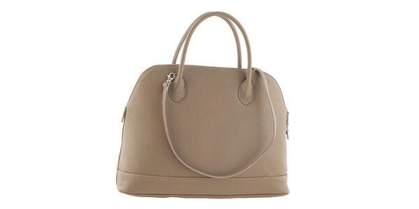 Dámska krémová kožená kabelka Ore 14