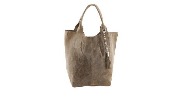 Dámska svetlo hnedá veľká kožená kabelka so strapcom Ore 11