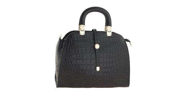 Dámska čierna kožená kabelka so vzorom krokodílej kože Ore 10