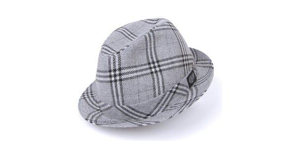 Pánsky šedý károvaný klobúk Chico