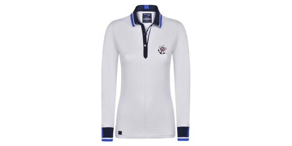 Dámske biele bavlnené polo tričko s kotvičkou Giorgio Di Mare