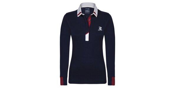 Dámske modré bavlnené polo tričko s dlhým rukávom Giorgio Di Mare
