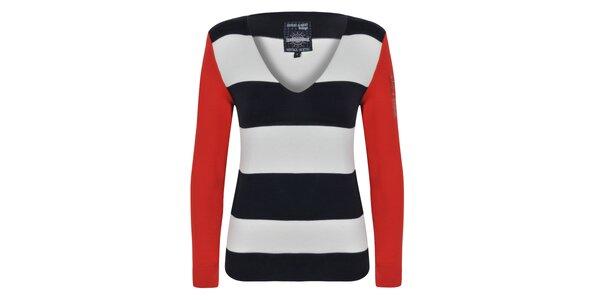 Dámsky pruhovaný sveter s červenými rukávmi Giorgio Di Mare