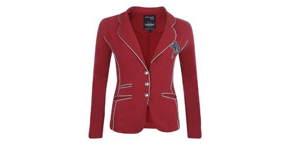 Dámske červené sako s kontrastným lemovaním Giorgio Di Mare
