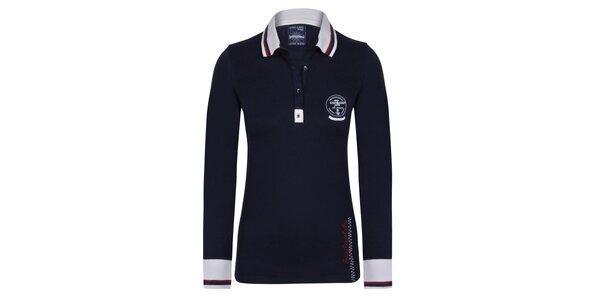 Dámske tmavomodré polo tričko s výšivkami Giorgio Di Mare