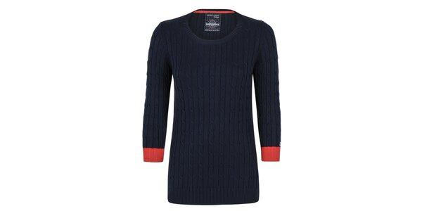 Dámsky tmavomodrý sveter s červenými manžetami Giorgio di Mare