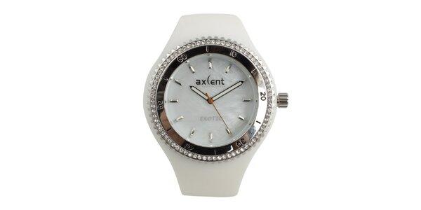 Dámske biele hodinky s prvkami v striebornom tóne a zirkónmi Axcent