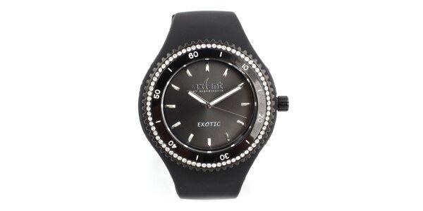 Dámske čierne hodinky s bielymi zirkónmi Axcent