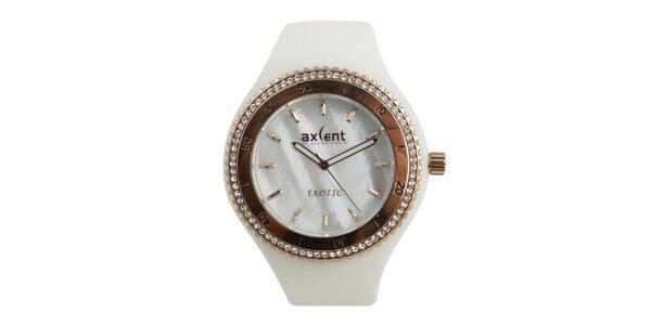 Dámske biele hodinky s prvkami v zlatom tóne a zirkónmi Axcent