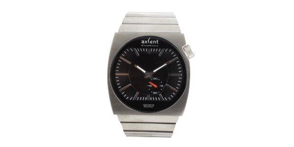 Pánske hodinky z nerezovej ocele s čiernym cifrníkom Axcent