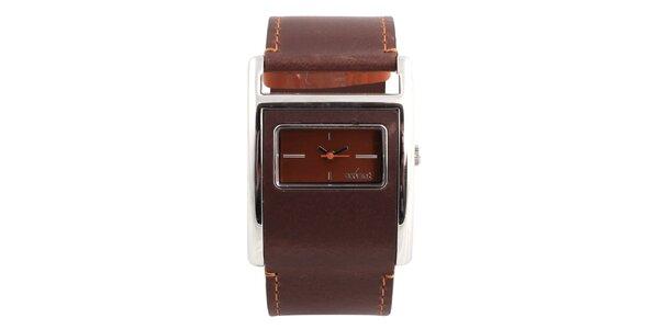 Dámske hranaté hodinky s hnedým koženým remienkom Axcent