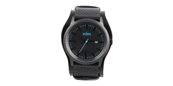 Pánske čierne hodinky s modrými indexmi Axcent