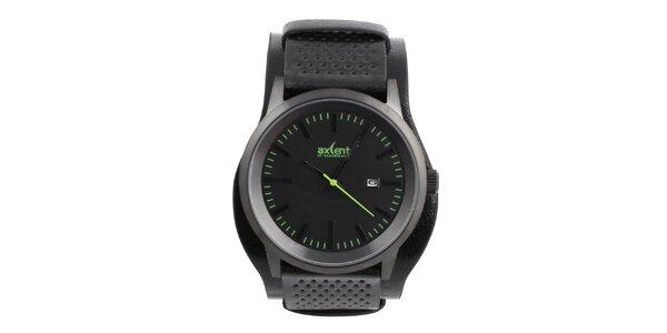 Pánske čierne hodinky so zelenými indexmi Axcent