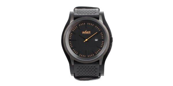Pánske čierne hodinky s oranžovými indexmi Axcent