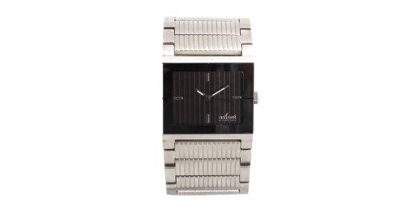 Dámske oceľové hodinky s hranatým čiernym ciferníkom Axcent