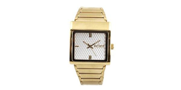 Dámske hodinky s hranatým púzdrom v zlatom tóne Axcent