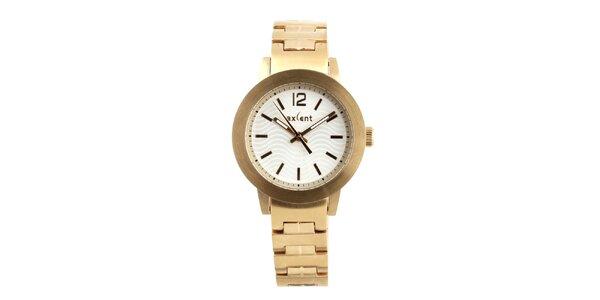 Dámske zlaté hodinky s bielym ciferníkom Axcent