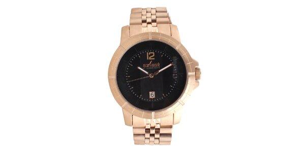Oceľové hodinky vo farbe ružového zlata Axcent