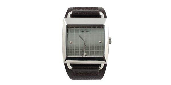 Hranaté hodinky s čiernym ciferníkom a koženým remienkom Axcent