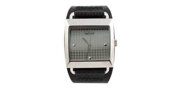 Hranaté hodinky s čiernym koženým remienkom Axcent