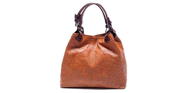 Dámska koňakovo hnedá kabelka so vzorom Renata Corsi