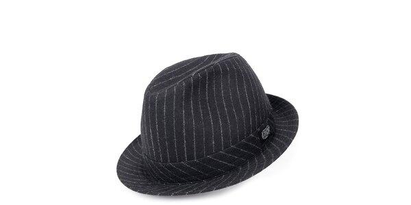 Pánsky čierny klobúk s pruhmi Chico