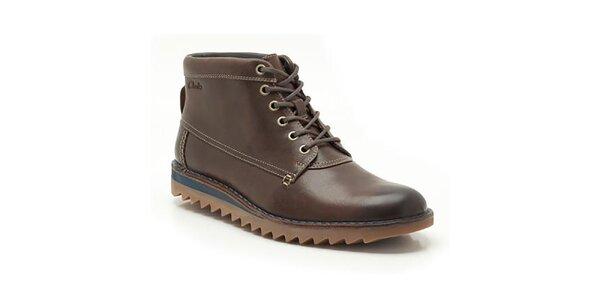Pánske hnedé členkové topánky so šnúrkovým šnurovaním Clarks