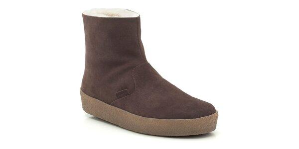 Pánske hnedé členkové topánky s kožúškom Clarks