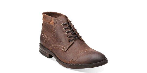 Pánske hnedé kožené prešívané topánky Clarks