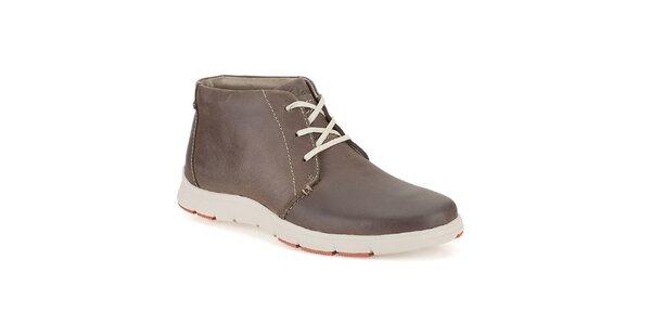 Pánske tmavo hnedé šnurovacie topánky Clarks