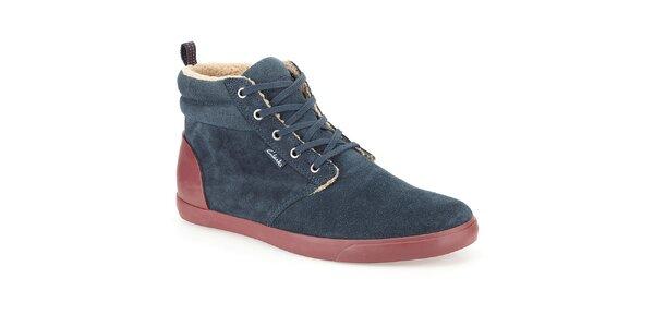 Pánske tmavo modré semišové topánky s kožúškom Clarks