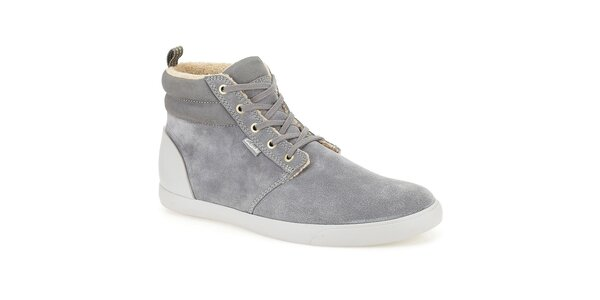Pánske šedé semišové topánky Clarks - členkové