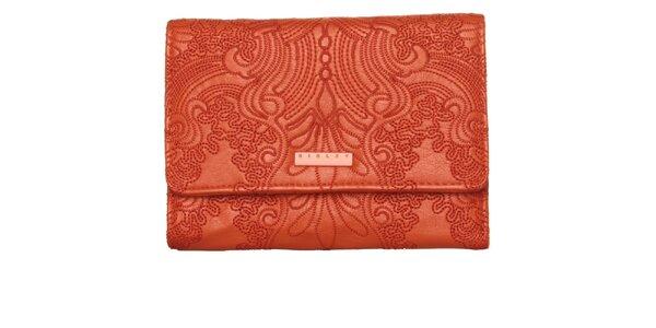 Dámska ohnivo červená peňaženka Sisley s výšivkou