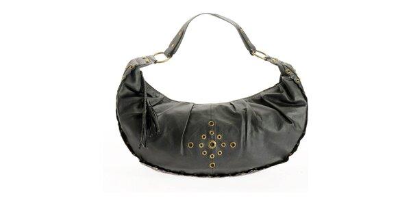Dámska čierna kabelka Benetton so zlatými cvokmi