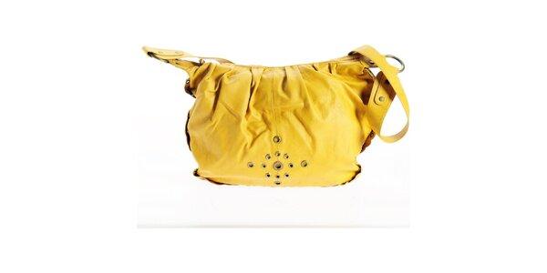 Dámska kanárikovo žltá kabelka Benetton so zlatými cvokmi