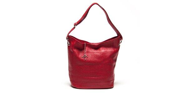Dámska červená kabelka s pevným dnom Renata Corsi