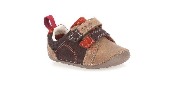 Detské hnedé kožené topánky Clarks
