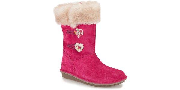 Detské ružové topánky s kožúškom a srdiečkami Clarks