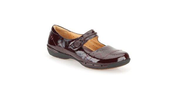 Dámske lakované kožené topánky vo farbe bordó Clarks