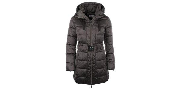 Dámsky hnedý kabátik s kapucňou Fly Moda