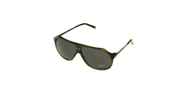 Dámske tmavo zelené žíhané slnečné okuliare Axcent